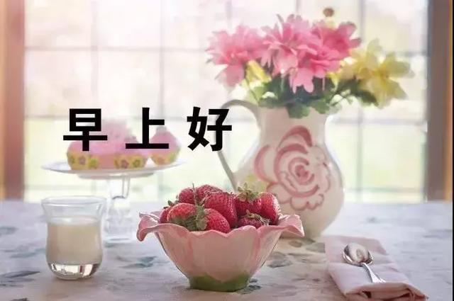 漂亮早上好问候图片鲜花带字,新的一天早安语心情说说句子