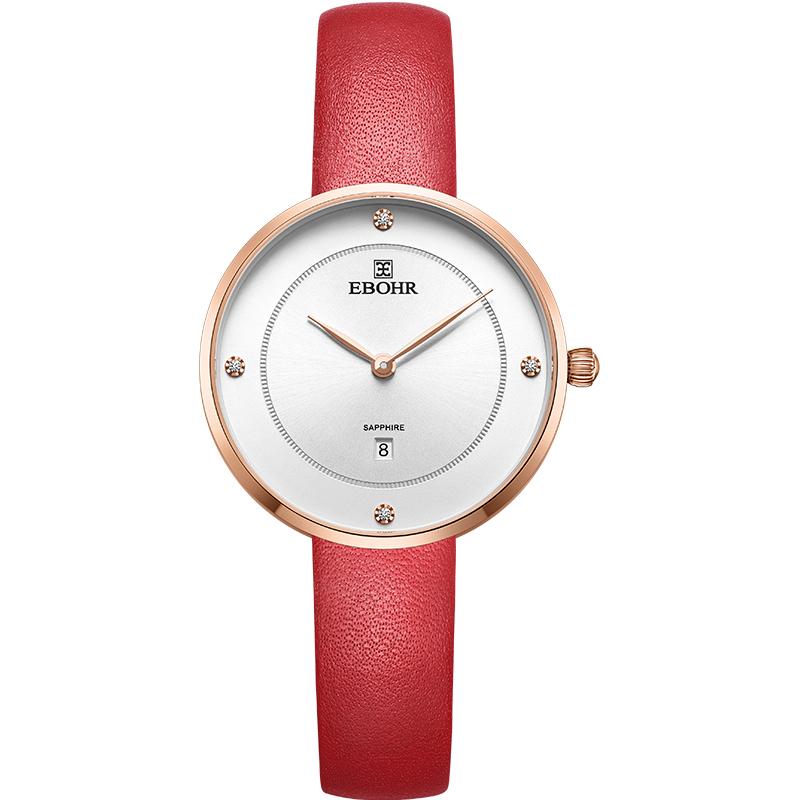 依波(EBOHR)手表 炫彩系列靓丽气质简约表盘红色皮带石英女表钟表50680245优惠券