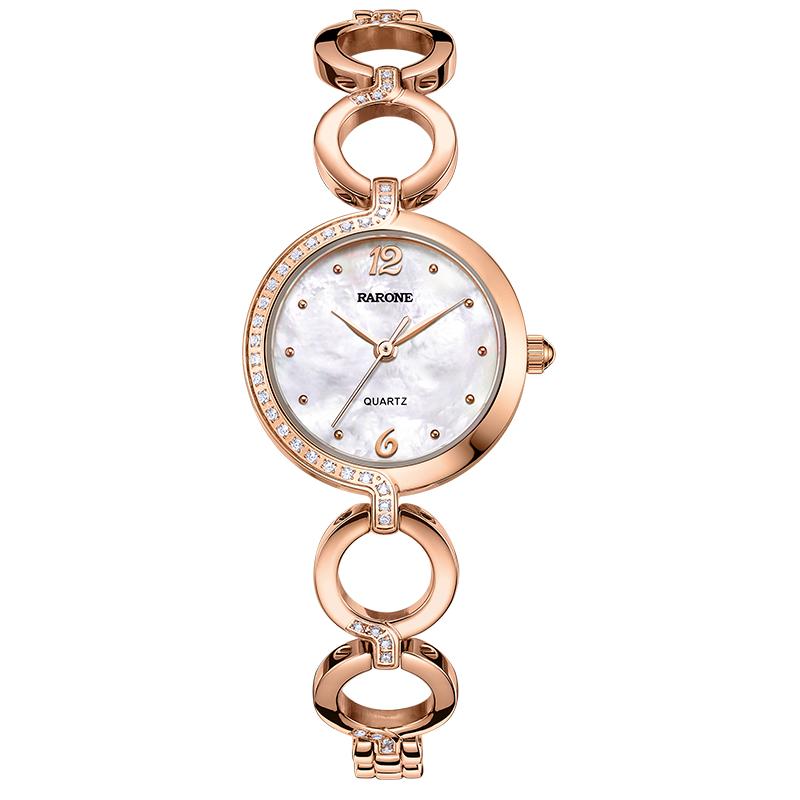 雷诺(RARONE)手表 悦己系列时尚钢带手链女士手表钟表 白面玫针优惠券