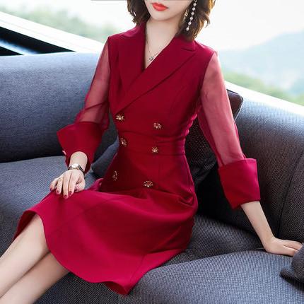 新款红色长袖连衣裙女中长款气质显瘦通勤优惠券