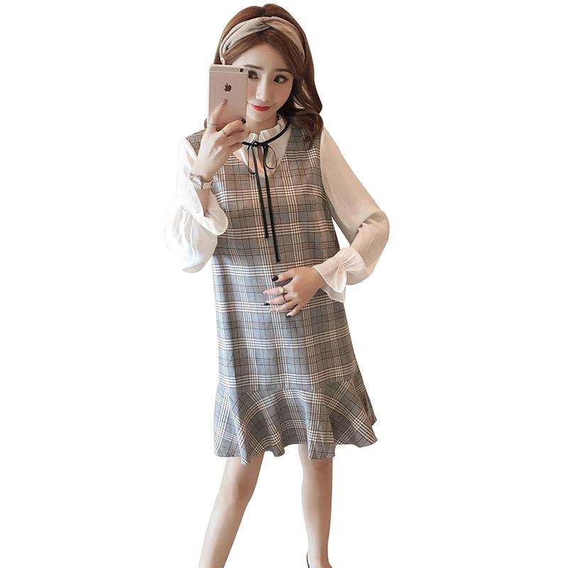 秋装新款格子拼接系带长袖宽松孕妇连衣裙优惠券