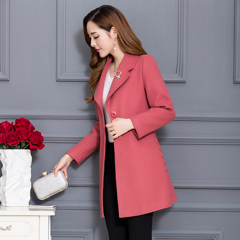 韩版毛呢外套女中长款修身显瘦羊毛呢大衣优惠券
