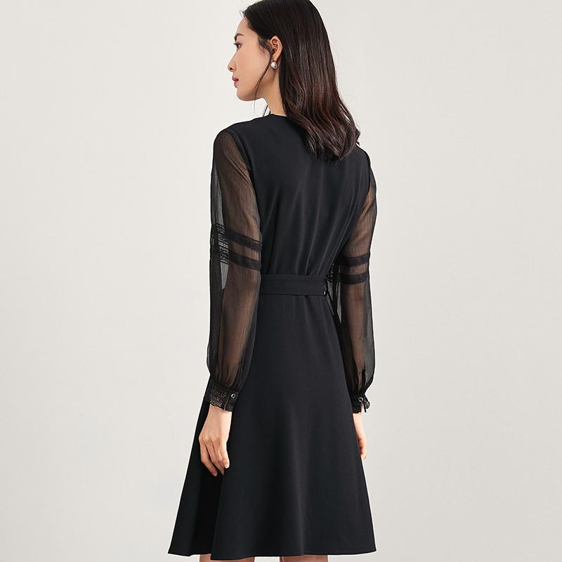 秋季性感V领花边腰带灯笼袖纯色连衣裙优惠券