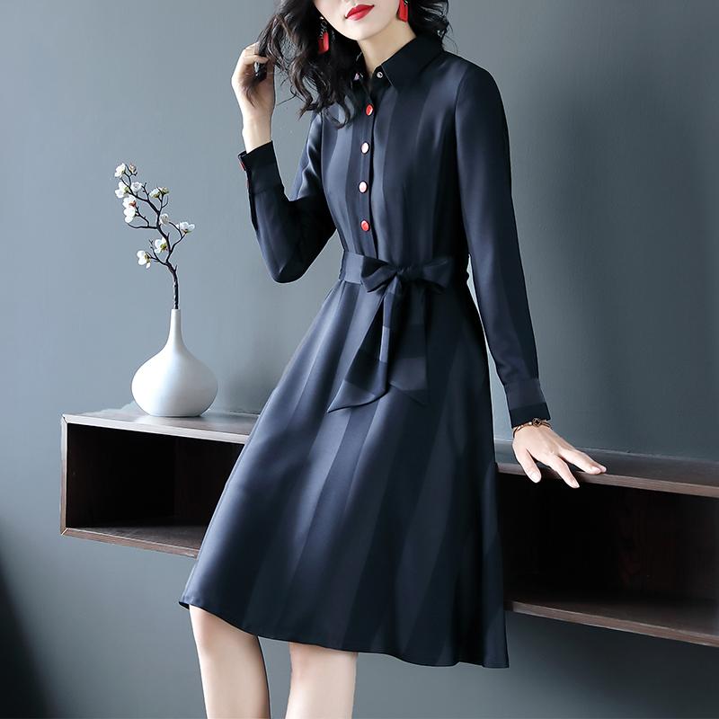 时尚撞色修身收腰衬衫裙优惠券