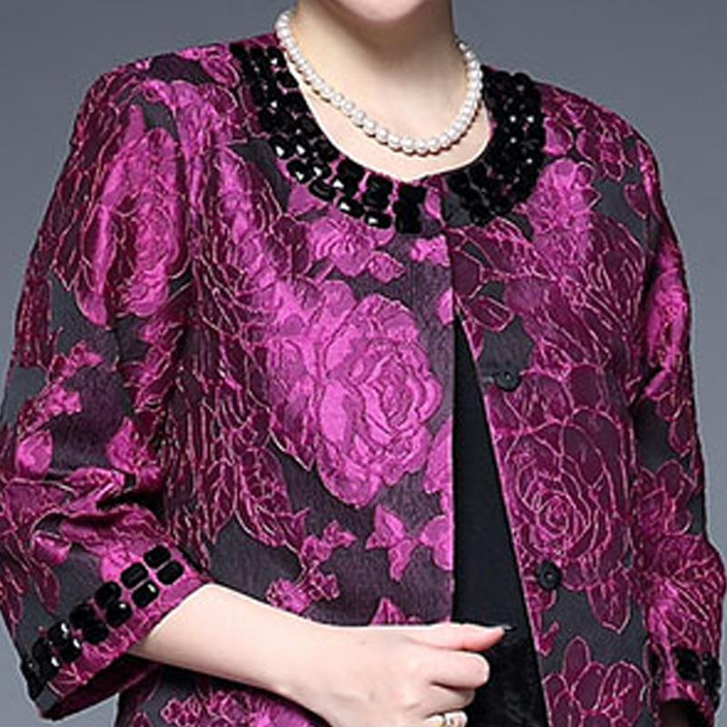女装春装外套中长款时尚钉珠40-50岁优惠券