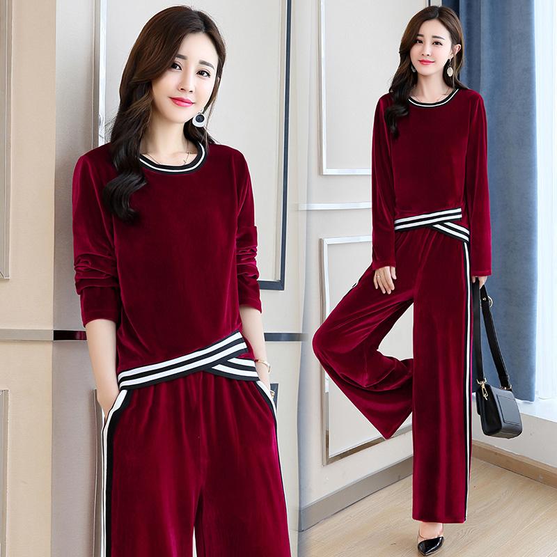 秋季新款女装韩版金丝绒休闲运动套装优惠券