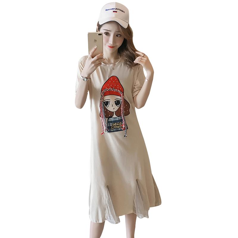 连衣裙中长款可哺乳孕妇裙潮妈装宽松优惠券