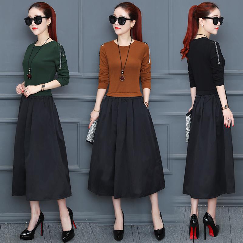 春秋新款女装韩版显瘦收腰气质中长款裙子假两件连衣裙6097优惠券