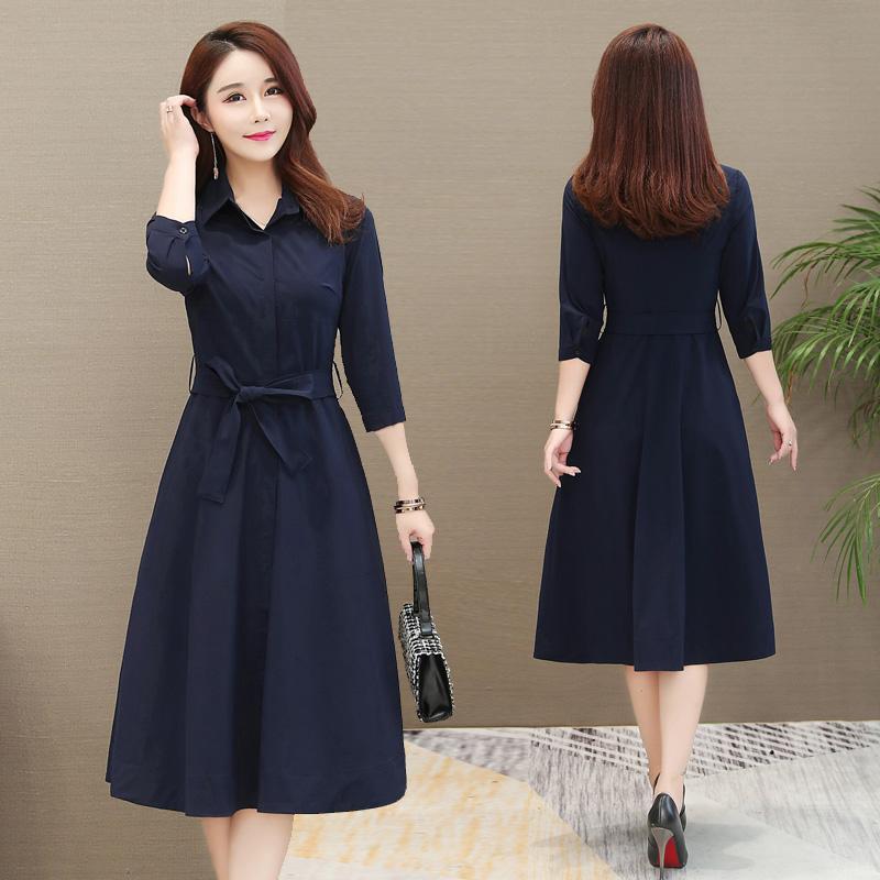 风衣外套秋装新款韩版修身衬衣连衣裙女装优惠券