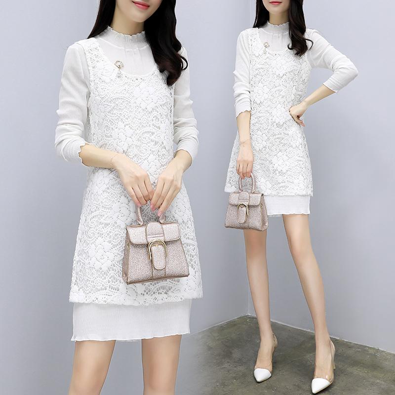 秋季女套装显瘦两件套中长款气质连衣裙优惠券