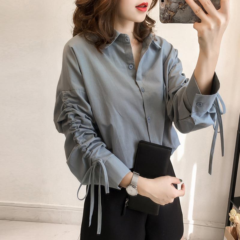 新款韩版长袖衬衫女加肥加大优惠券