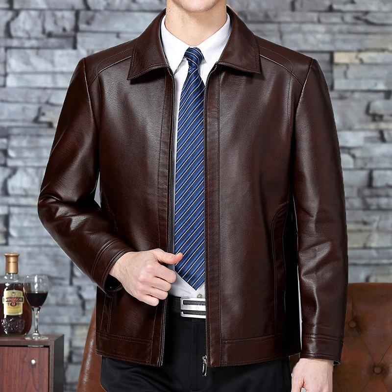 皮衣男士皮衣中老年男翻领绵羊皮夹克休闲优惠券