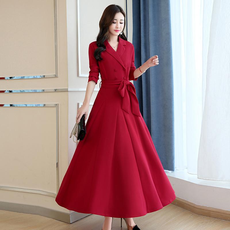 红色秋装长袖连衣裙优惠券