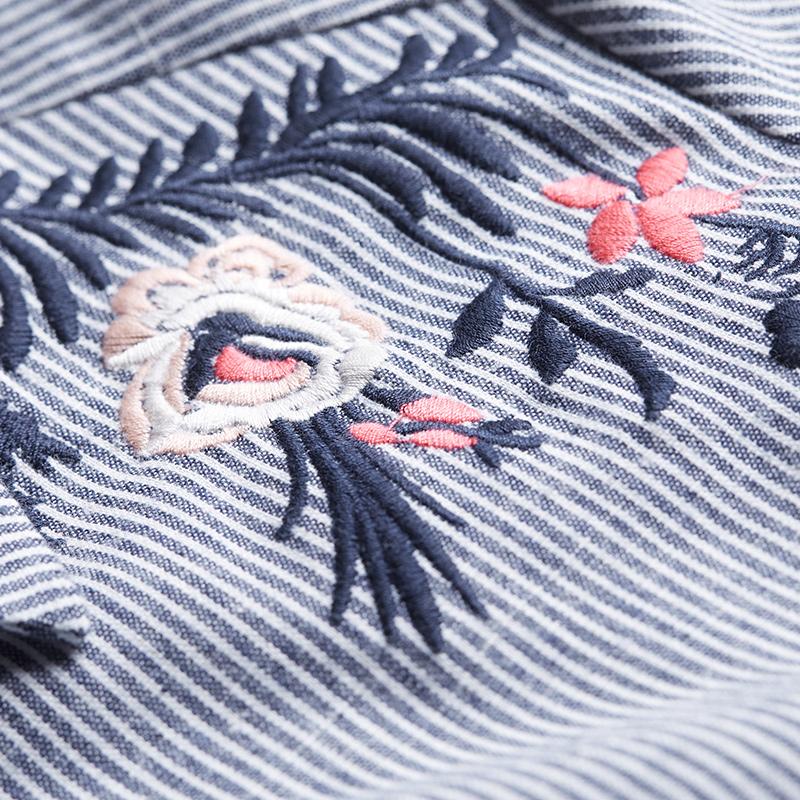 大码2018文艺刺绣竖条纹衬衫女长袖衬衣优惠券