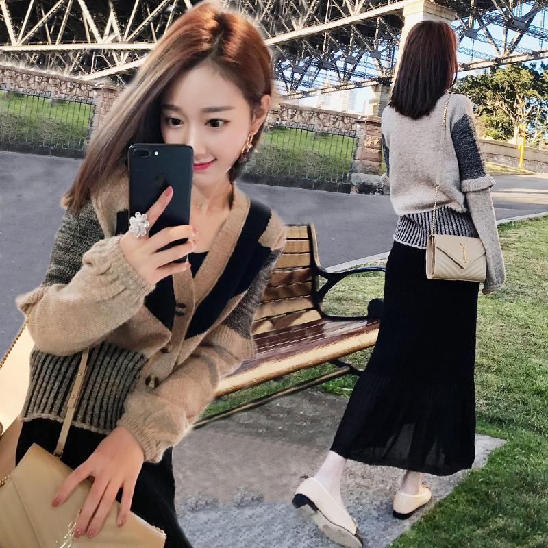 时尚针织毛衣开衫两件套韩版chic套裙优惠券