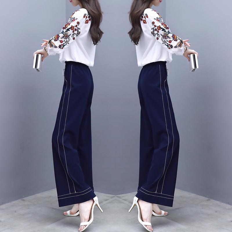 韩版女装七分袖刺绣衬衫港味两件套阔腿裤时优惠券