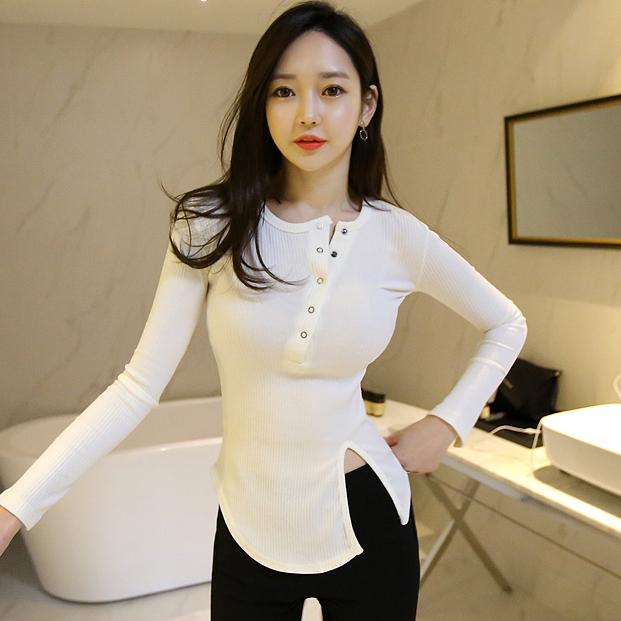 韩版不规则开叉长袖T恤女修身显瘦打底衫优惠券