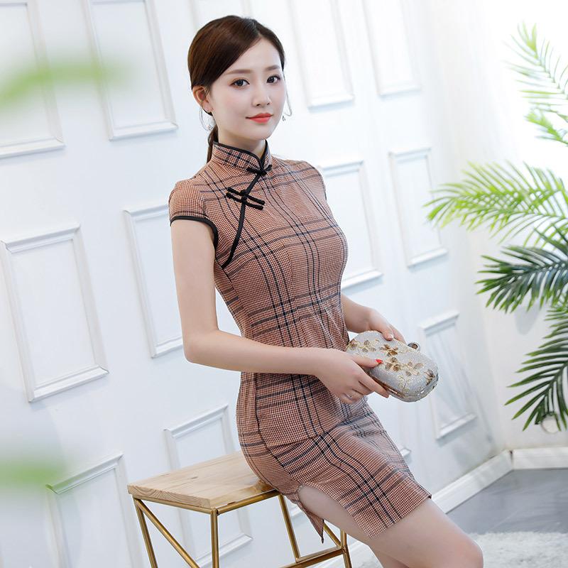wf秋季格子旗袍连衣裙时尚性感纯棉麻旗袍优惠券