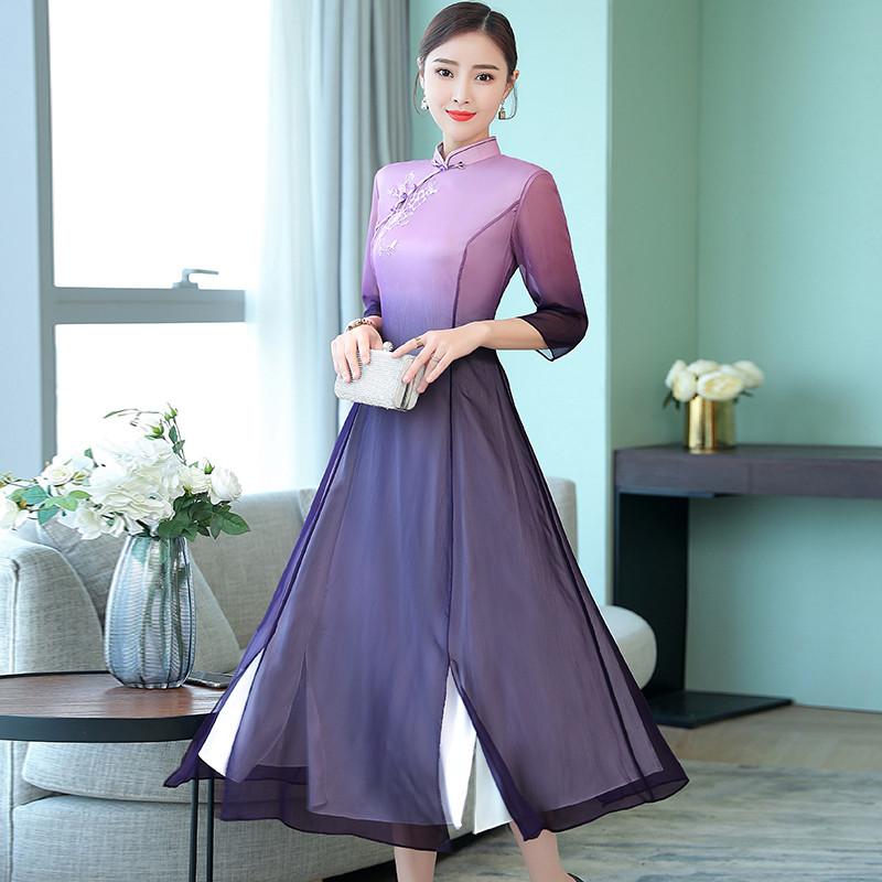 wf秋季新款中袖改良修身复古中国风旗袍优惠券