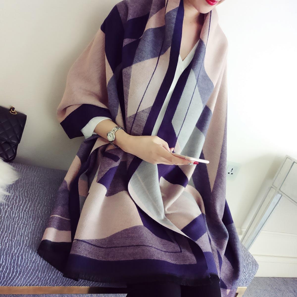 秋冬季欧美双面围巾女披肩两用空调防羊绒围巾加厚披肩优惠券