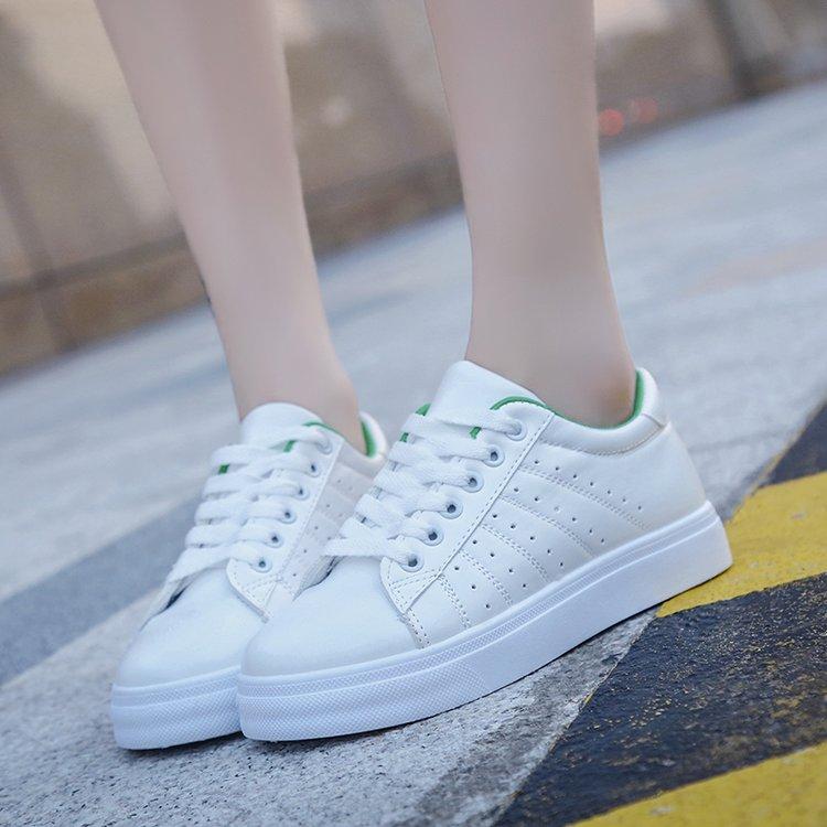 新款帆布鞋女韩版潮百搭系带平底休闲白鞋优惠券