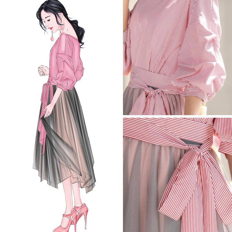 时髦港风网纱裙省心搭配两件套漏肩衬衫配裙子套装优惠券