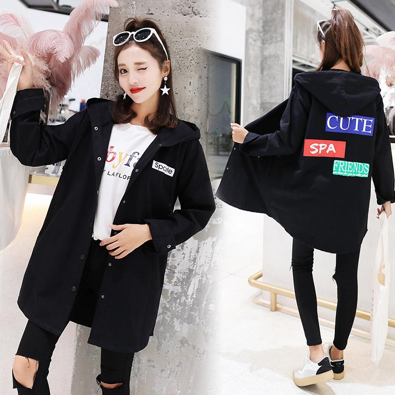 秋新款韩版中长款风衣连帽开衫中短外套女装优惠券