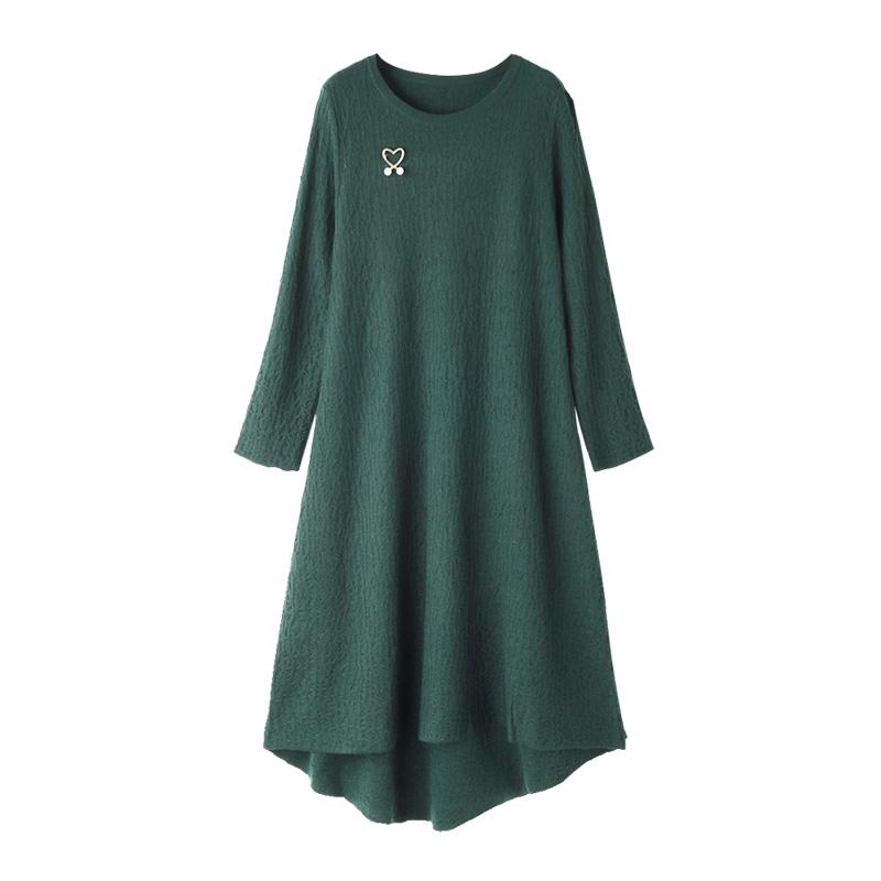 女装气质针织打底裙长袖墨绿色中长款裙子优惠券