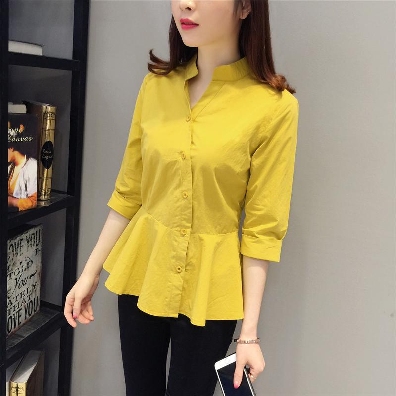2019春夏装新款韩版衬衫女设计感小众中袖上衣洋气百搭衬衣优惠券