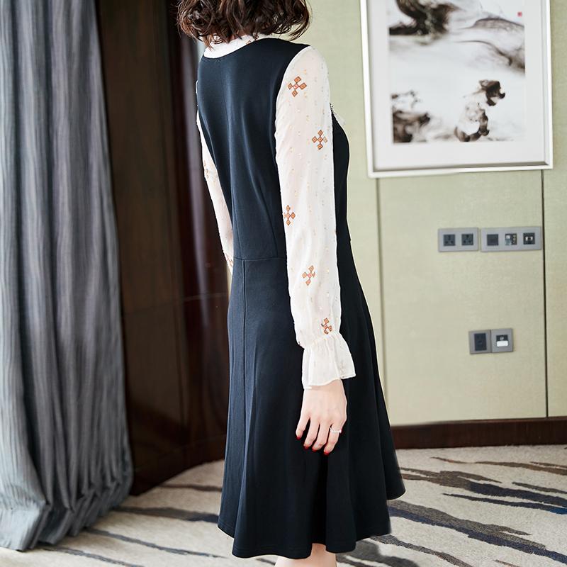 秋装新款大码女装中长款蕾丝长袖韩版连衣裙优惠券