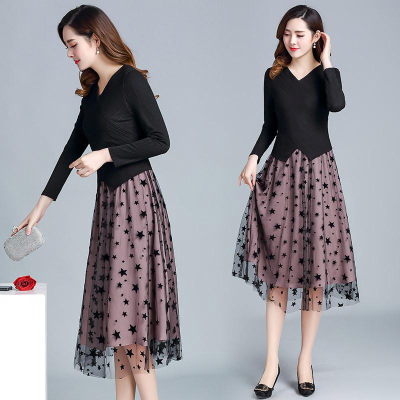 2019流行新款韩版拼接显瘦中长款假两件套裙子 优惠券