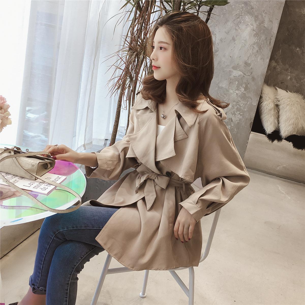 秋新款韩版中长款长袖风衣宽松收腰外套女装优惠券