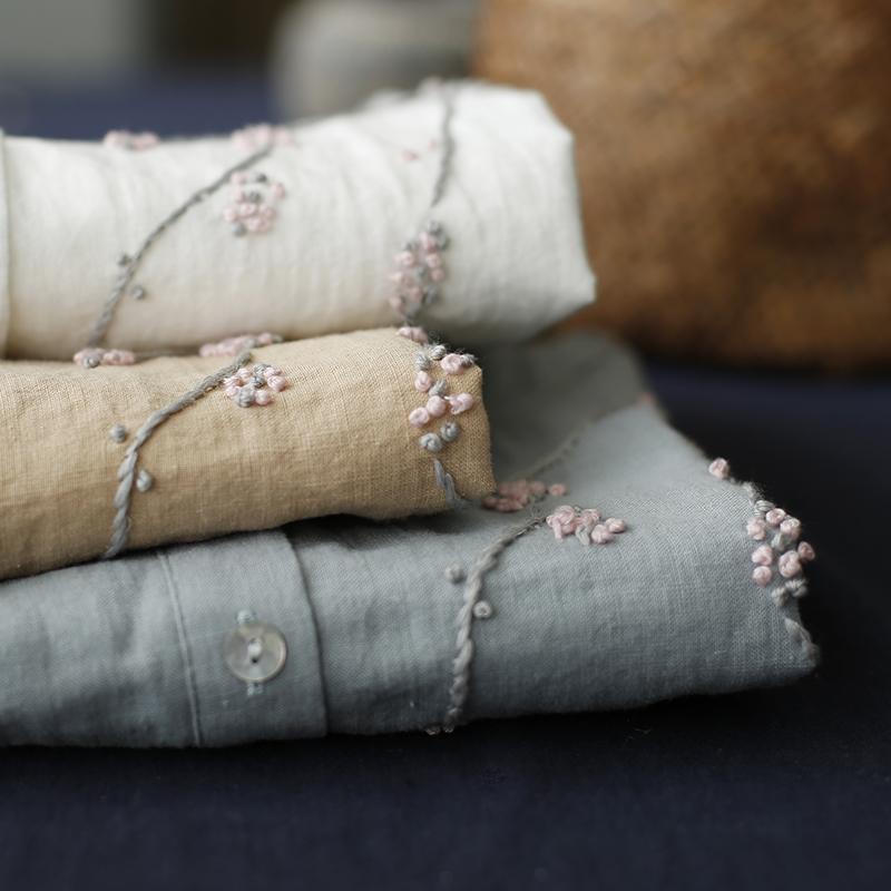 棉麻套头手工刺绣衬衫优惠券