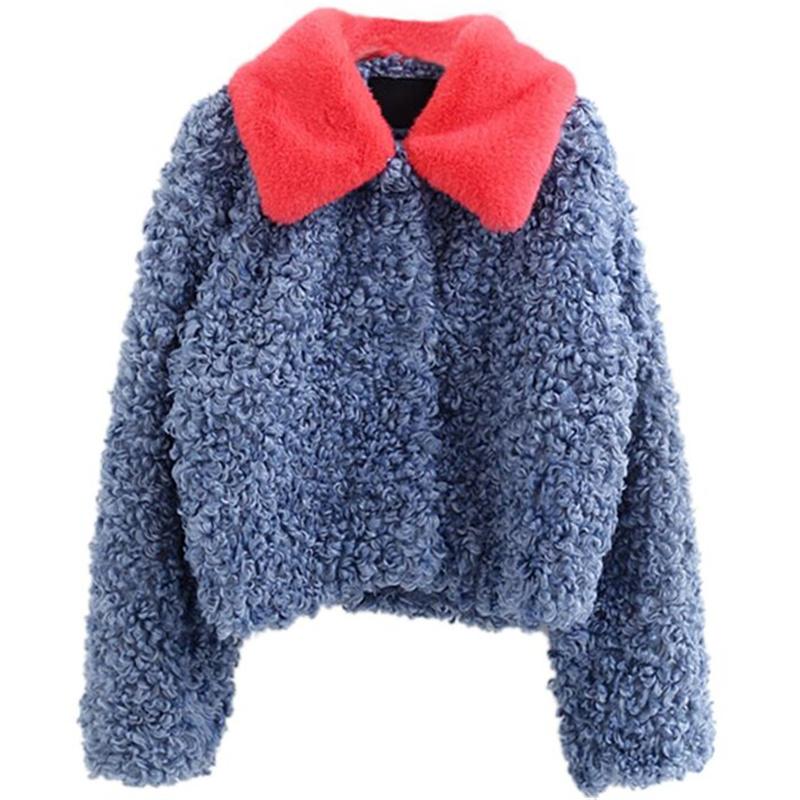 孔雀蓝羊圈毛短款外套卷卷羊毛仿皮草优惠券