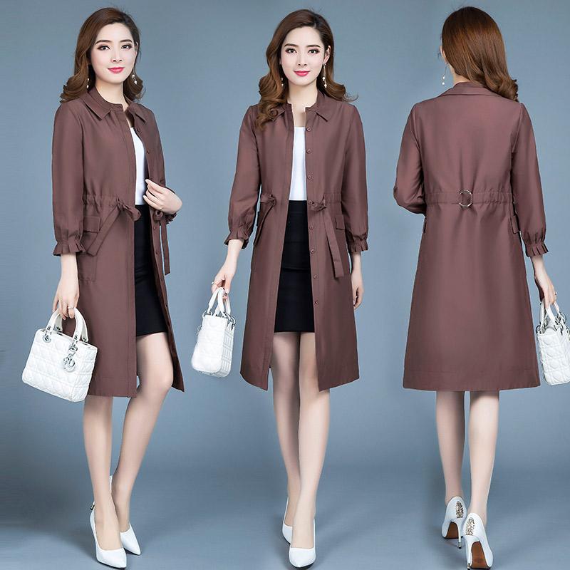 中长款风衣韩版秋季收腰系带时尚轻薄款外套优惠券