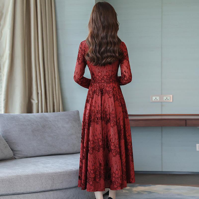 秋装秋季长袖雪纺蕾丝连衣裙优惠券