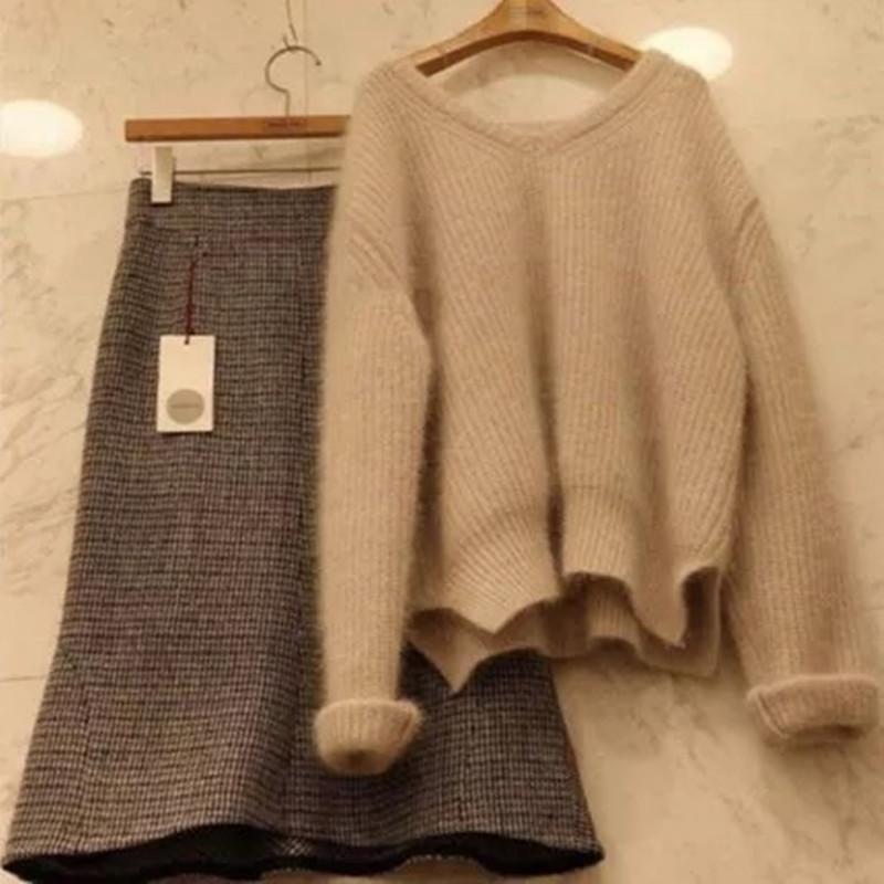 慵懒风毛衣两件套宽松显瘦针织衫女装优惠券