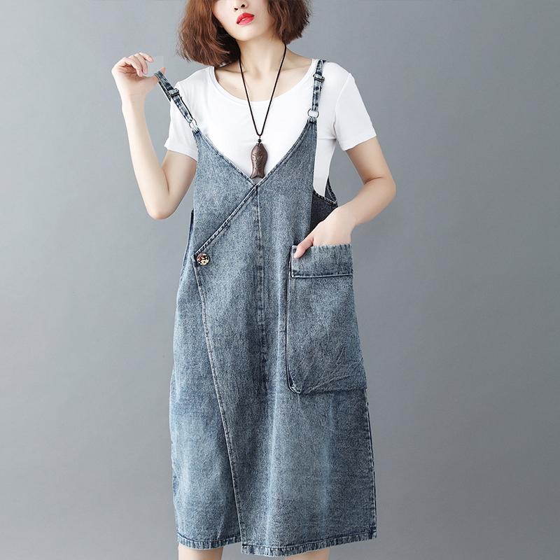 夏季新款全棉水洗牛仔显瘦背带吊带裙连衣裙优惠券