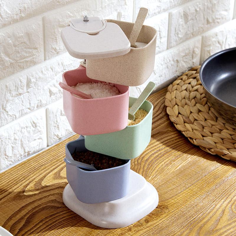 小麦秸秆调味罐立式旋转调料盒厨房调味盒优惠券
