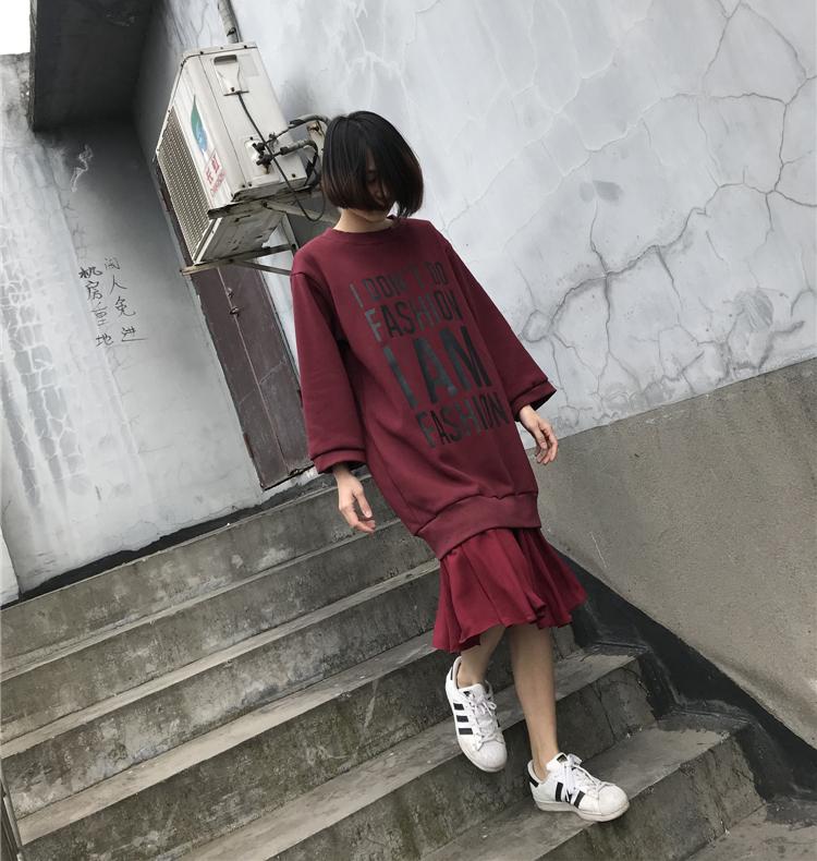 新款宽松学生卫衣裙加绒荷叶边字母连衣裙优惠券