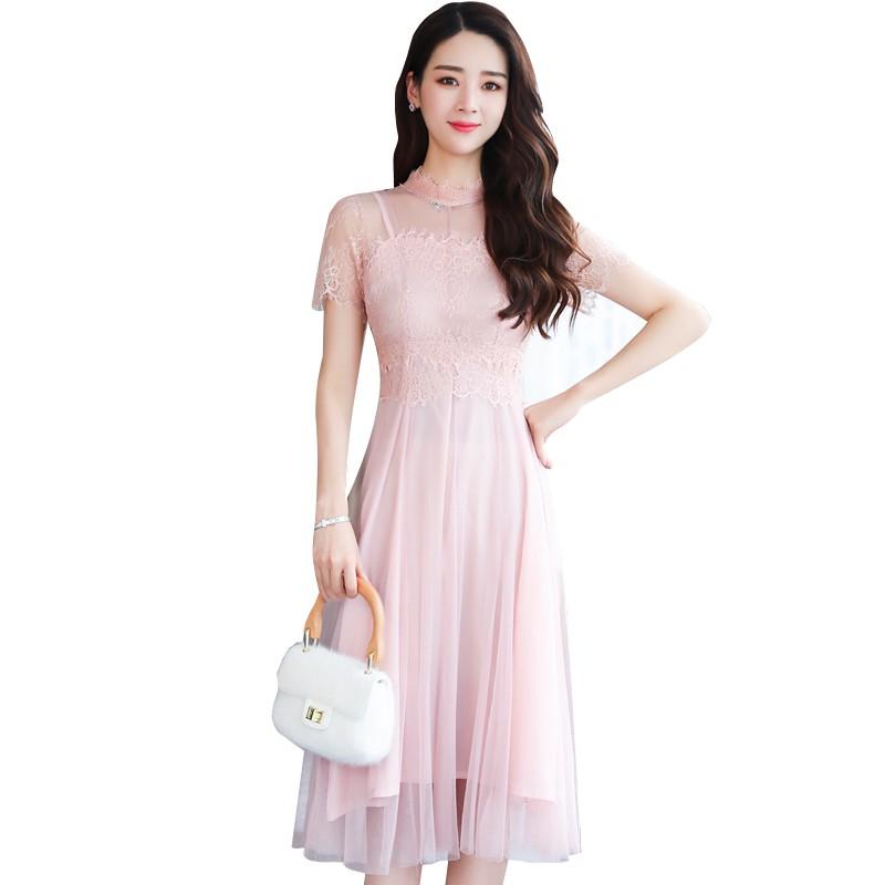 粉色网纱温柔纱透视高腰蕾丝连衣裙优惠券