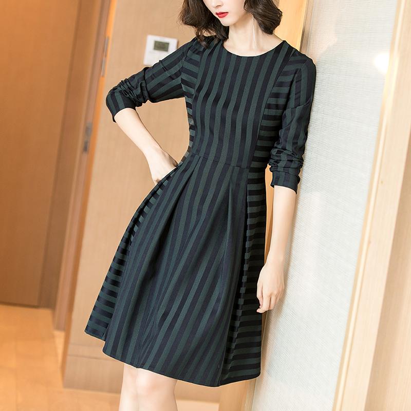 秋季新款条纹修身显瘦连衣裙优惠券