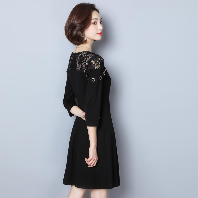 显瘦蕾丝拼接七分袖袖大码女装连衣裙女优惠券