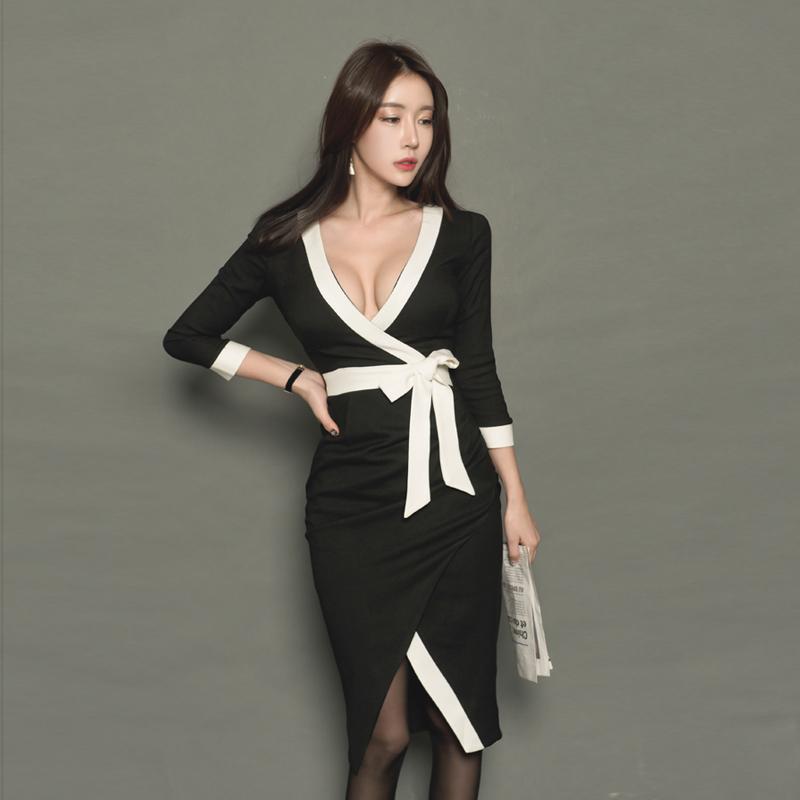 新款女装黑白撞色拼接不规则包臀裙优惠券