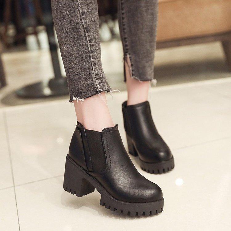 韩版春秋新款季黑色粗跟短靴子女单靴优惠券