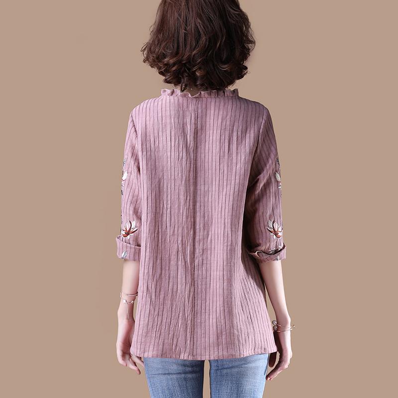 大码棉麻刺绣衬衫女秋装新款九分袖衬衣优惠券