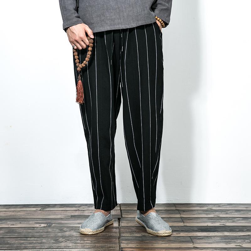 复古直筒棉麻长裤宽松哈伦裤条纹裤优惠券
