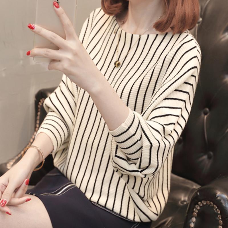 秋装2018蝙蝠袖针织衫薄款女新款韩版优惠券