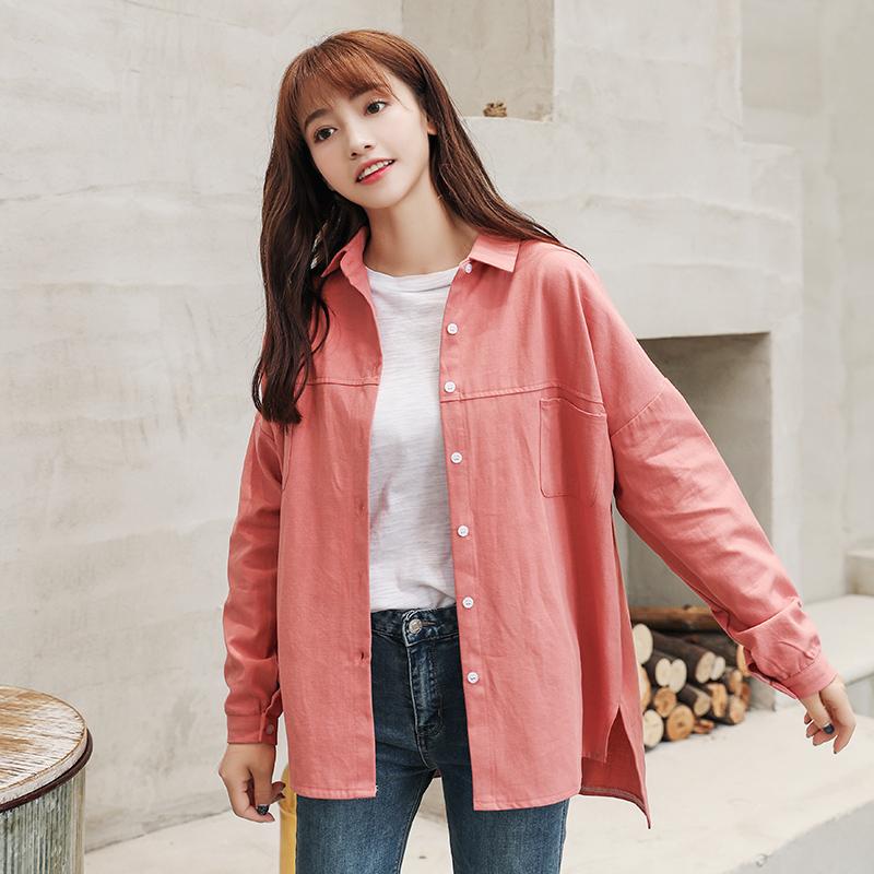 款韩版时尚宽松纯色衬衫优惠券