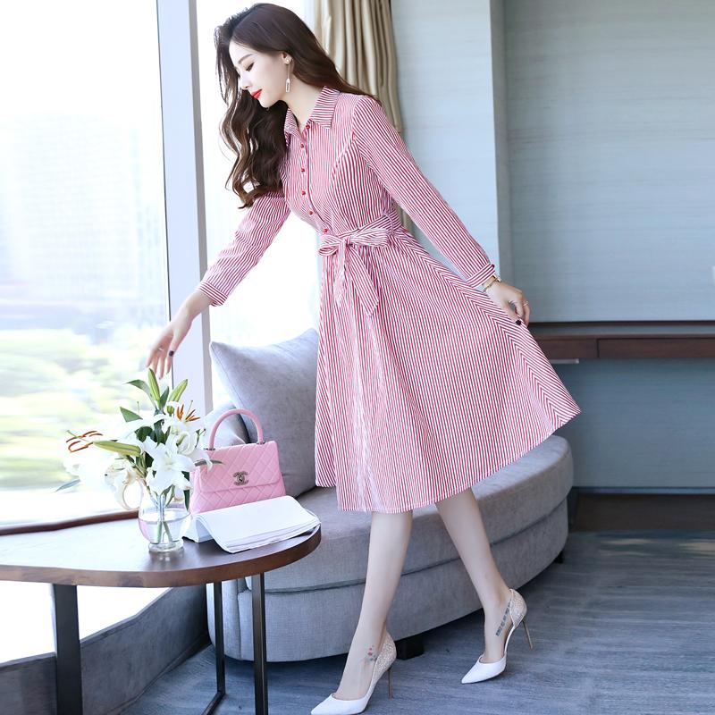 条纹连衣裙女秋装衬衫裙子中长款打底裙优惠券